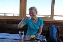 Anne, enjoying Cypriot coffee