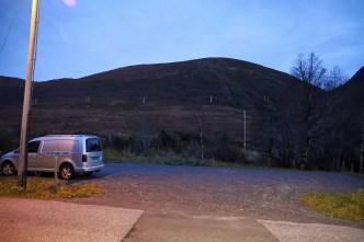 Blåtind seen from the trailhead (summit not seen)