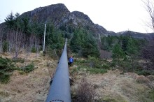 Hiking down alongside the pipeline