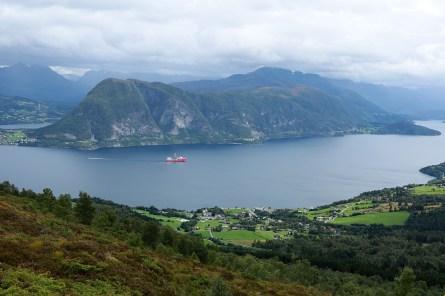 View towards Folkestad. Rotsethornet across the fjord