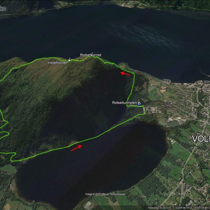 The route across Rotsethornet and Instehornet
