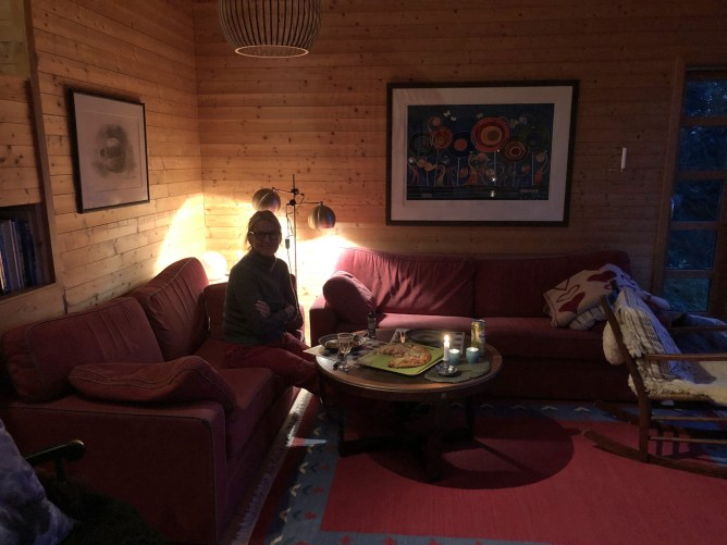 Our first night in the rented cabin