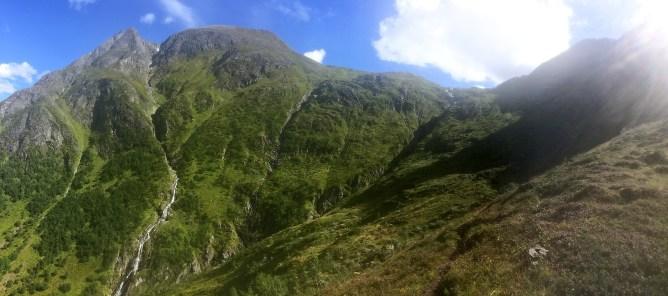 Steep terrain all around