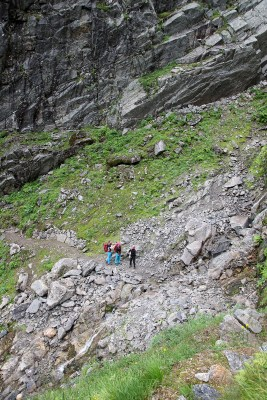 Crossing the couloir