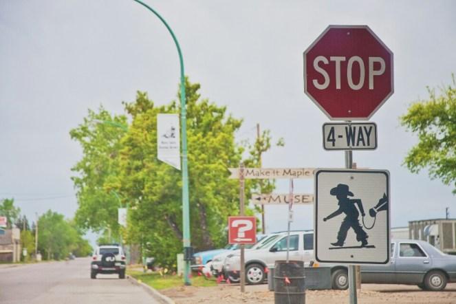 Cowboy crossing sign in Maple Creek.