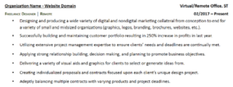 A sample resume showing freelance work experience