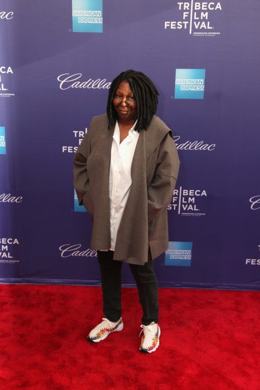 "94b892126d6 Whoopi hits the red carpet in a pair of The Nike Air Footscape Woven  ""Rainbow"""
