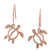 14k Rose Gold Diamond Turtle Dangle Earrings