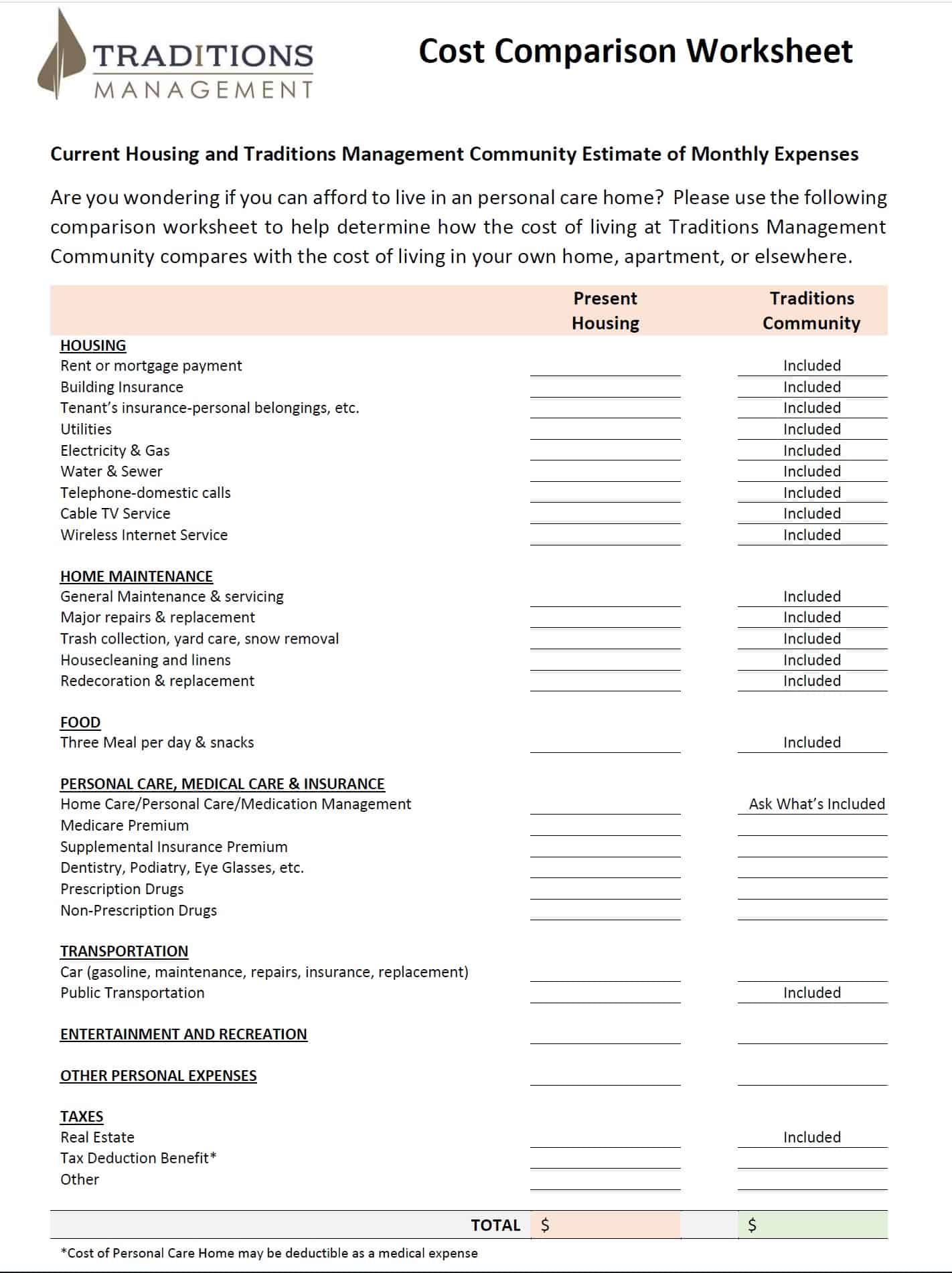 Cost Comparison Worksheet
