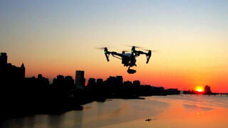 Marvelous photo of drone in the sunset