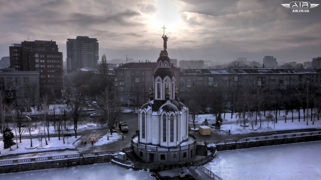 UAV captured temple in the rays of winter sun