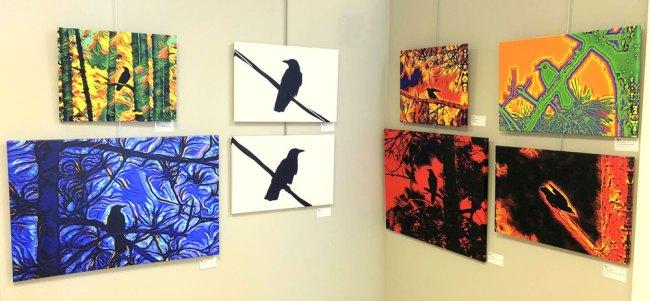 Rick de Yampert's Mr. Crow Art, at the Flagler County Art League. (© FlaglerLive)