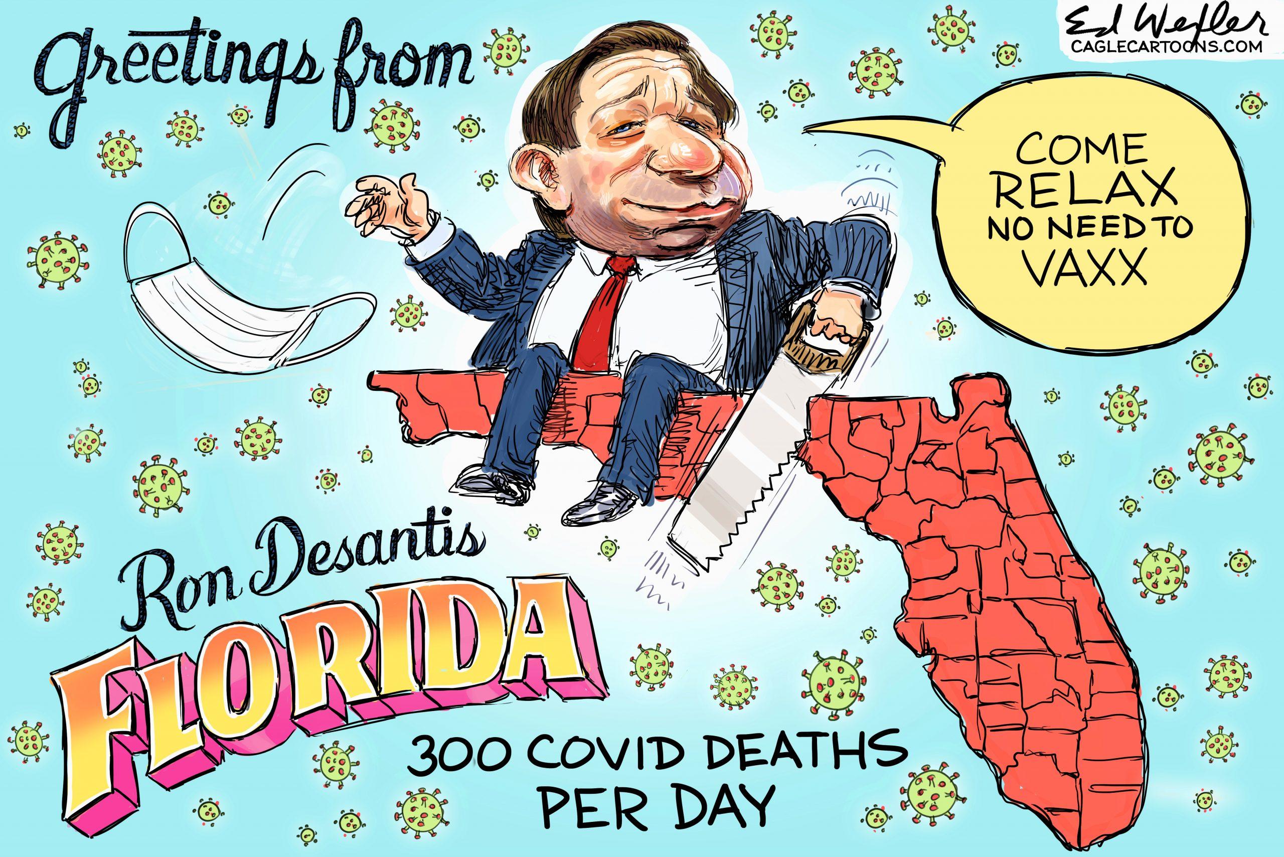 Greetings From Desantis Florida by Ed Wexler, CagleCartoons.com