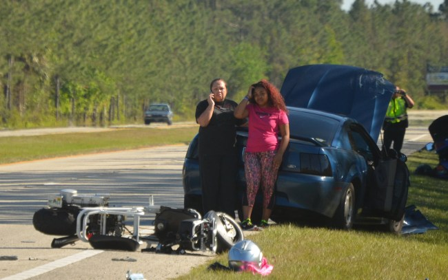 Daija Shavers's mother was allowed to join her about 75 minutes after the crash. Click on the image for larger view. (© FlaglerLive)