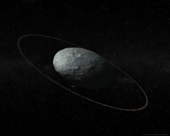 From NASA: 'One of the strangest objects in the outer Solar System has recently been found to have a ring. The object, named Haumea, is the fifth designated dwarf planet after Pluto, Ceres, Eris, and Makemake. Haumea's oblong shape makes it quite unusual. Along one direction, Haumea is significantly longer than Pluto, while in another direction Haumea has an extent very similar to Pluto, while in the third direction is much smaller. Haumea's orbit sometimes brings it closer to the Sun than Pluto, but usually Haumea is further away. Illustrated above, an artist visualizes Haumea as a cratered ellipsoid surrounded by a uniform ring. Originally discovered in 2003 and given the temporary designation of 2003 EL61, Haumea was renamed in 2008 by the IAU for a Hawaiian goddess. Besides the ring discovered this year, Haumea has two small moons discovered in 2005, named Hi'iaka and Namaka for daughters of the goddess.' (NASA)