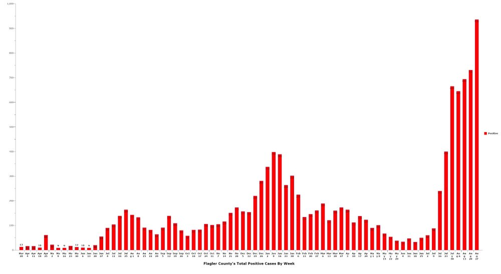 Flagler County shattered its record of weekly cases this week, with 936 confirmed cases. Click on the graph for larger view. (© FlaglerLive)