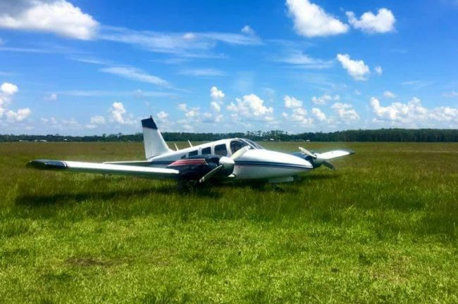 The plane after its landing off County Road 305. (Contributed)