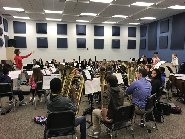 Bands from matanzas High, Flagler Palm Coast, Buddy Taylor and Indian Trails middle schools all practiced together over the past weekend. (MHS)