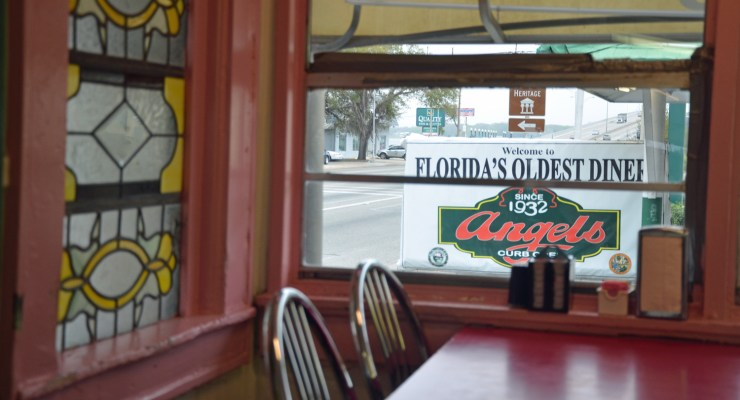 The view from inside Angel's Diner in Palatka this morning, with the bridge over the St. Johns River in the distance. Click on the image for larger view. (© FlaglerLive)