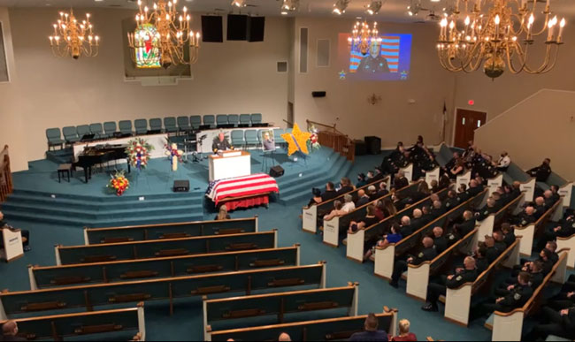 The congregation at First Baptist Church this morning.
