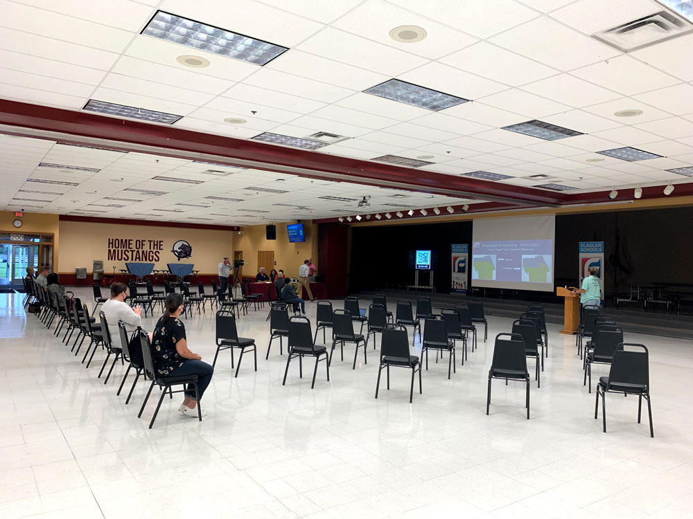 """That was all the audience there was at a """"listening session"""" at the Indian Trails Middle School cafeteria Wednesday evening, a contrast with previous listening sessions, when the rezoning proposal was much broader. (© FlaglerLive)"""