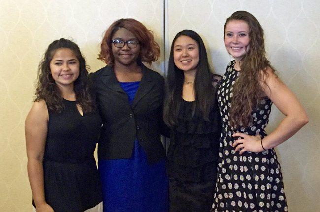 university women flagler Amanda Hok, Najare Johnson, Athena Rodriguez, Emily Bell.