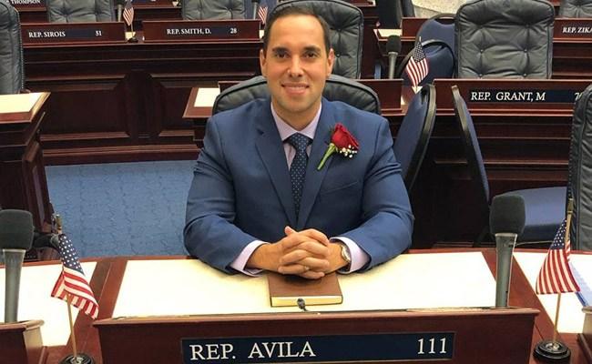 Florida Rep. Bryan Avila as Noah Webster. (Facebook)