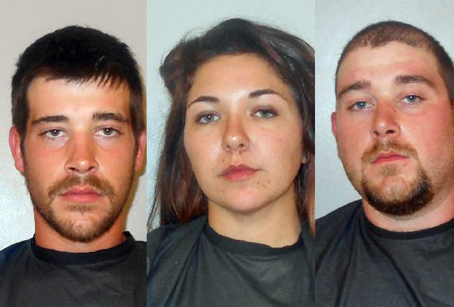 From left, Zachary Parsley, 22, Samantha Smith, 25, and Tyler Parsley, 23, face assault charges after a confrontation with four young black men on Belle Terre Parkway Sunday evening.