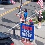 The weekly demonstrators are giving Flagler Beach a black eye. (© FlaglerLive via Facebook)