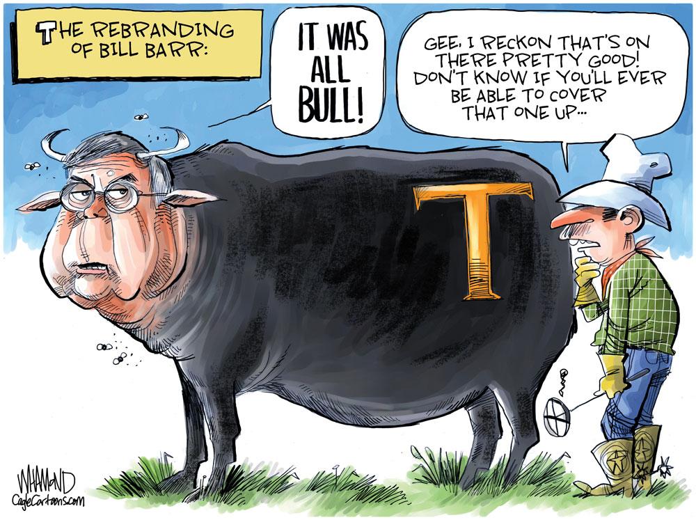 The Rebranding of Bill Barr by Dave Whamond, Canada, PoliticalCartoons.com