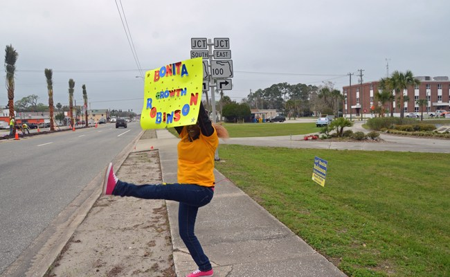 Sylvia Hubbert, a Bonita Robinson supporter, was celebrating a few hours early today in Bunnell. But she proved right. (© FlaglerLive)