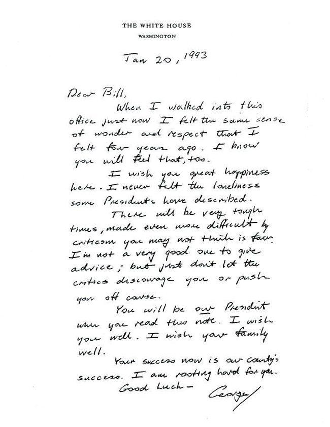 bill clinton george h.w. bush letter
