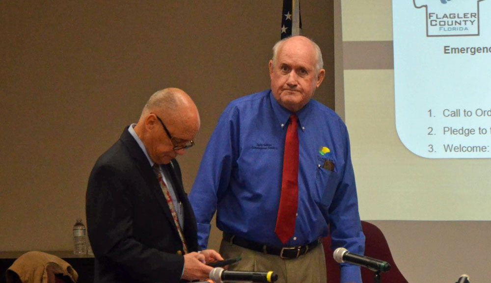 Taking over the chairmanship of the Flagler County Commission from Donald O'Brien, left, Dave Sullivan today makes his first imprint on the panel by reorganizing committee assignments at a workshop at 1 p.m. (© FlaglerLive)