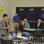 Marylin Crotty, in the foreground, 'facilitating' last week's charter-review workshop at Matanzas High School, which was attended by 13 people (city staff and council members not included). Members of the city council sat to the side: Heidi Shipley, Nick Klufas, Bob Cuff and Steven Nobile. (c FlaglerLive)