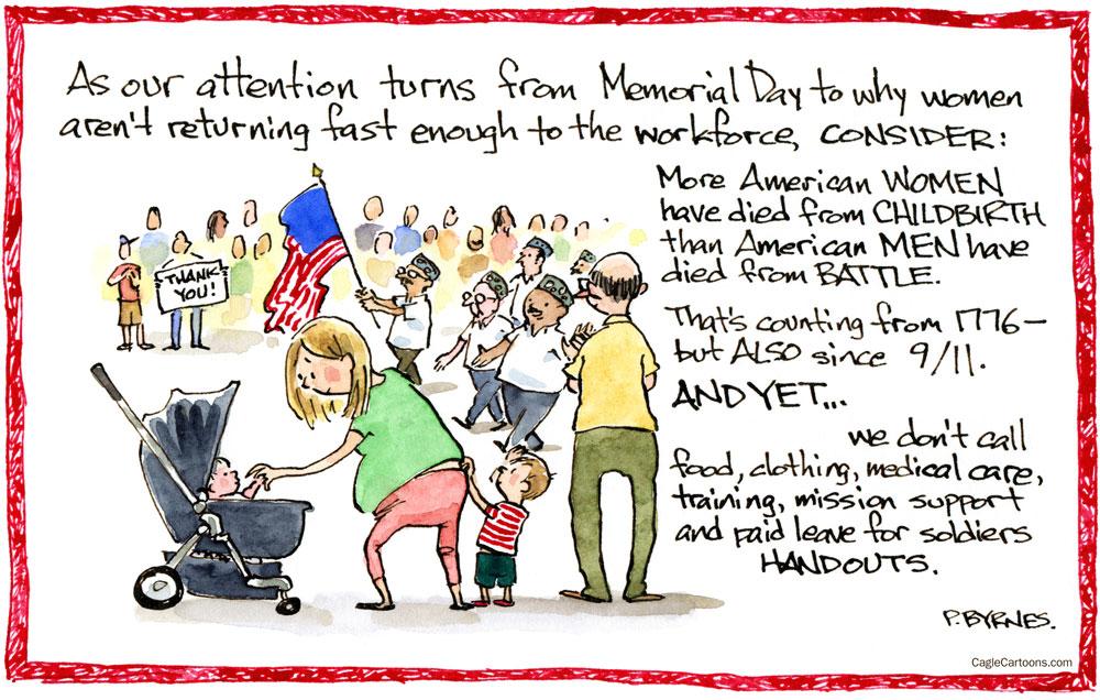 What is a handout by Pat Byrnes, PoliticalCartoons.com.