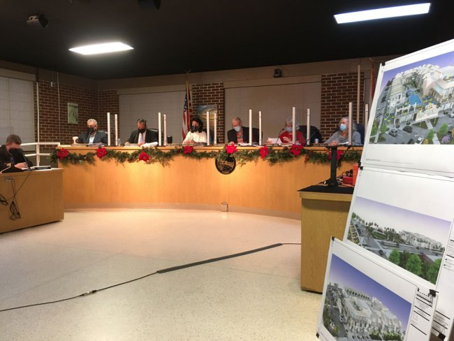 The Flagler Beach Planning Board meeting Tuesday evening. (© FlaglerLive)