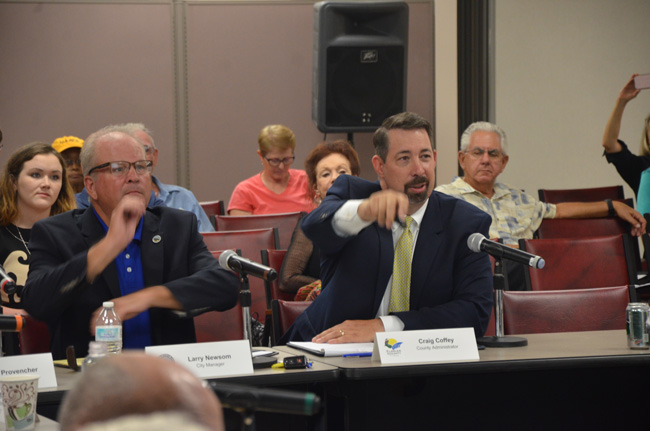 """Changing track: Flagler County Administrator Craig Coffey is urging county commissioners and the Flagler Beach City Commission to change course, abandon a long-studied plan to 'renourish"""" beaches, and adopt a more state and local p[lan to rebuild dunes. (c FlaglerLive)"""