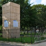 The Christopher Columbus Monument boxed in Marconi Plaza Philadelphia (Wikimedia Commons)