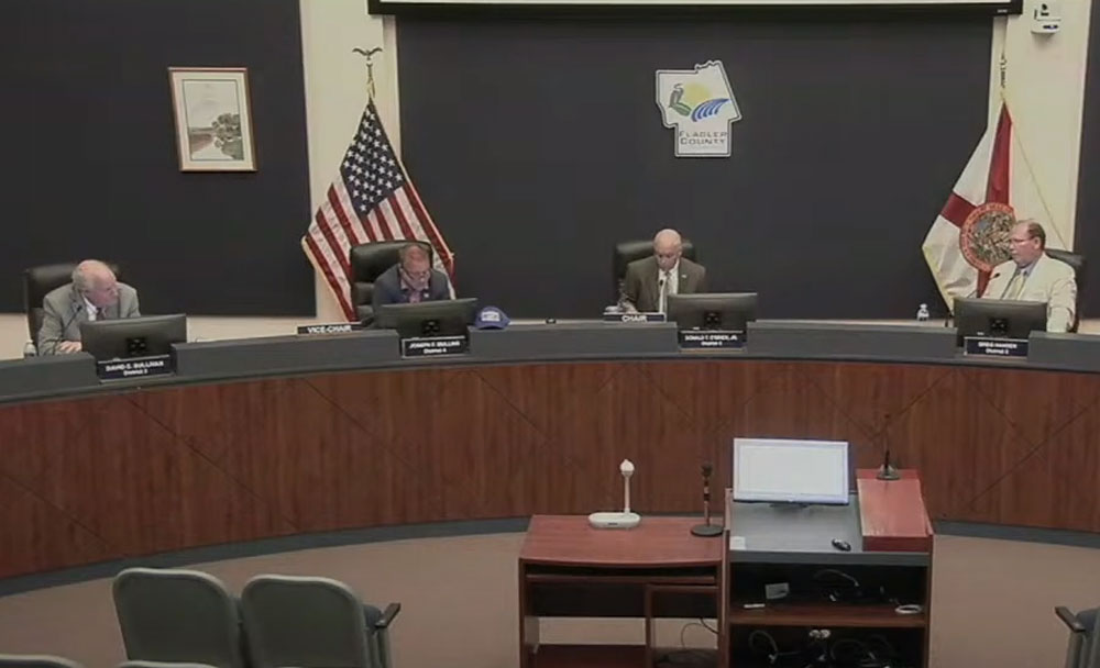 Not big on hard work: County Commissioners Dave Sullivan, Joe Mullins, Donald O'Brien and Greg Hansen aren't interested in pre-scheduled workshops to vet and discuss county business, as Palm Coast and the school board do, and as Commissioner Andy Dance was recommending. After agreeing to such a schedule, the commission, with Dance in dissent, rejected it on Monday. (© FlaglerLive via Flagler County TV)
