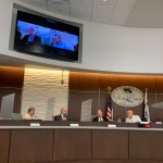 The Palm Coast City Council this morning, minus Milissa Holland. (© FlaglerLive)