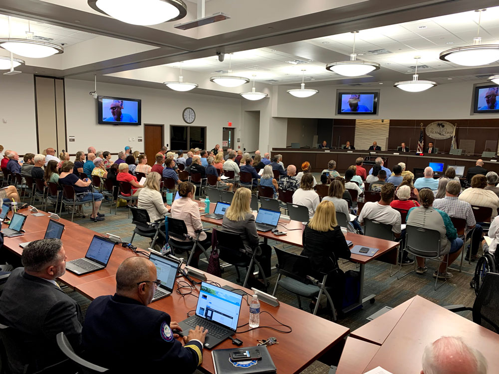 It was a full house at the Palm Coast City Council this evening. (© FlaglerLive)