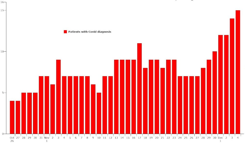 The number of Covid-related hospitalizations is reaching highs last seen in summer. (© FlaglerLive)