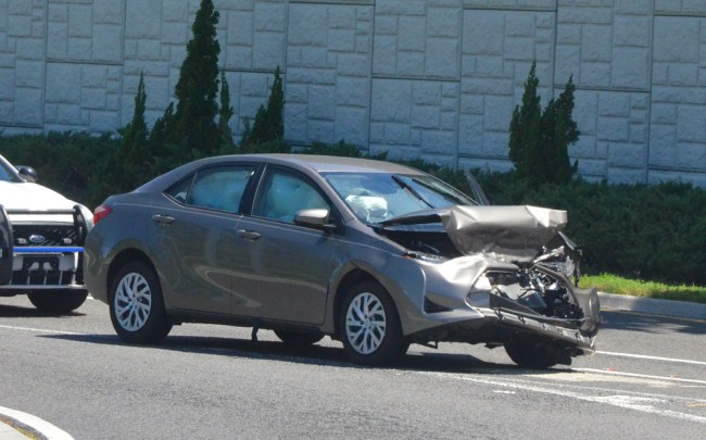 The vehicle that rear-ended the Greyhound bus. (c FlaglerLive)