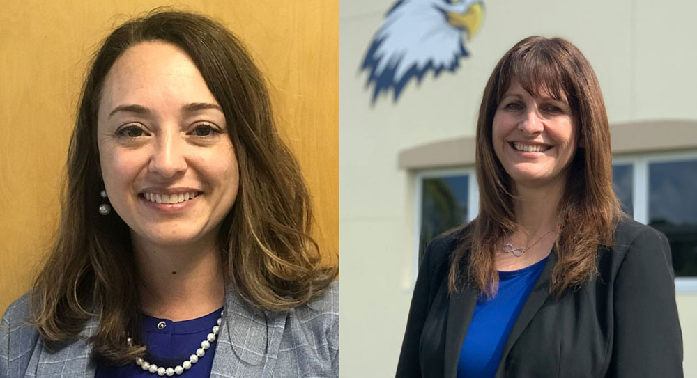 Jessica DeFord, left, and Cara Cronk are newly appointed principals, DeFord at Belle Terre Elementary, Cronk at Buddy Taylor Middle School. (Flagler Schools)