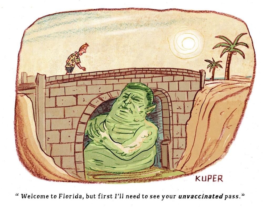 DeSantis Bridge Troll by Peter Kuper, PoliticalCartoons.com