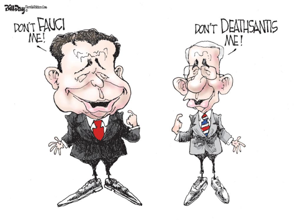 DeSantis and Fauci by Bill Day, FloridaPolitics.com