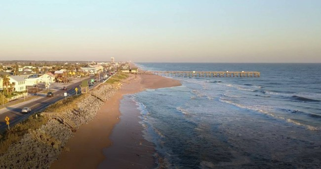Flagler Beach attorney Scott Spradley shot that view Saturday, with his drone, of the accumulation of sands south of the Flagler Beach pier following last week's storm. See the video below. Click on the image for larger view. (© Scott Spradley)