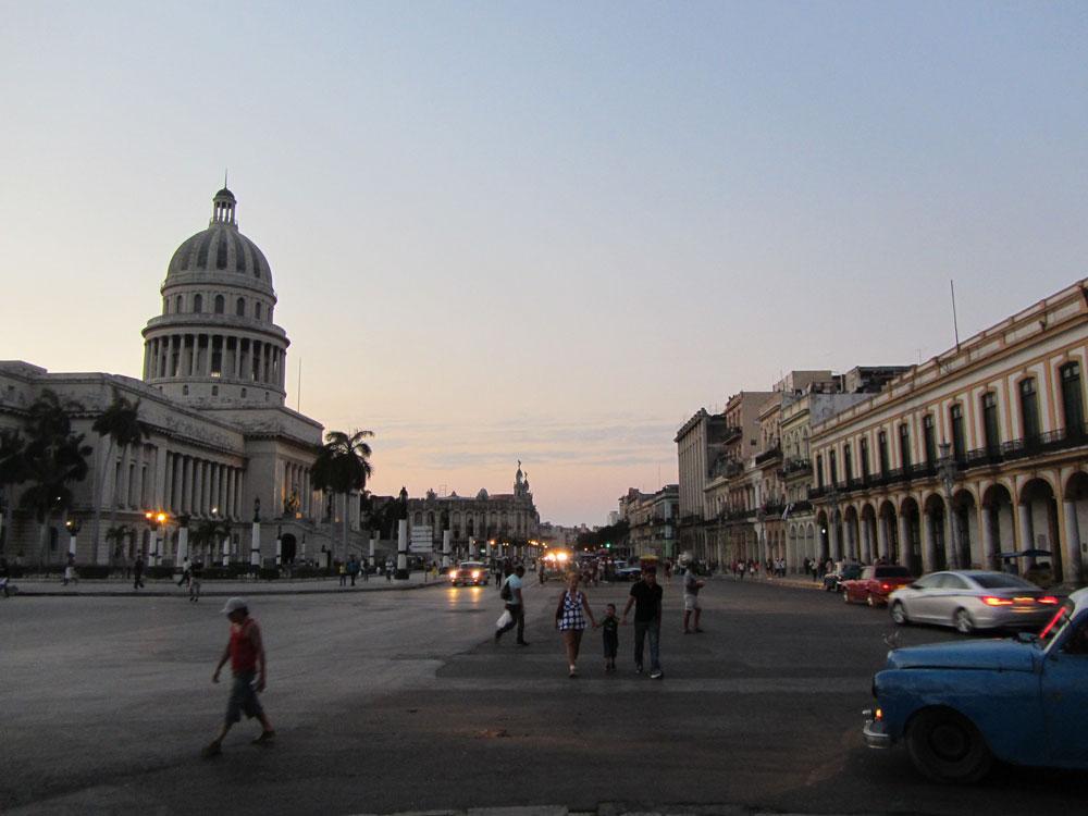 Dusk outside the Capitol in Havana. (Stephen Colebourne)