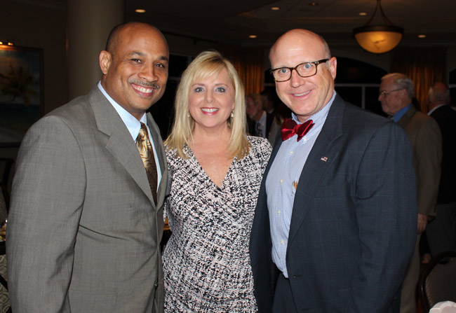 Last week's Eagle Scouts fund-raising dinner at the Hammock Beach Club surpassed its goal of $41,000. The honoree was  Sandra Mullins McDermott , seen here with Halvern Johnson, left, the director of Boy Scouts of America Central Florida Council, and Eric Magendantz, Central Florida Council Scout Executive.