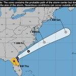 Eta was moving across northeast Florida rapidly Thursday.